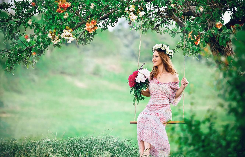 Photo wallpaper GIRL, LOOK, NATURE, TREE, GRASS, GREENS, DRESS, FLOWERS, BROWN hair, GLADE, BOUQUET, JOY, VEGETATION, BEAUTY, …
