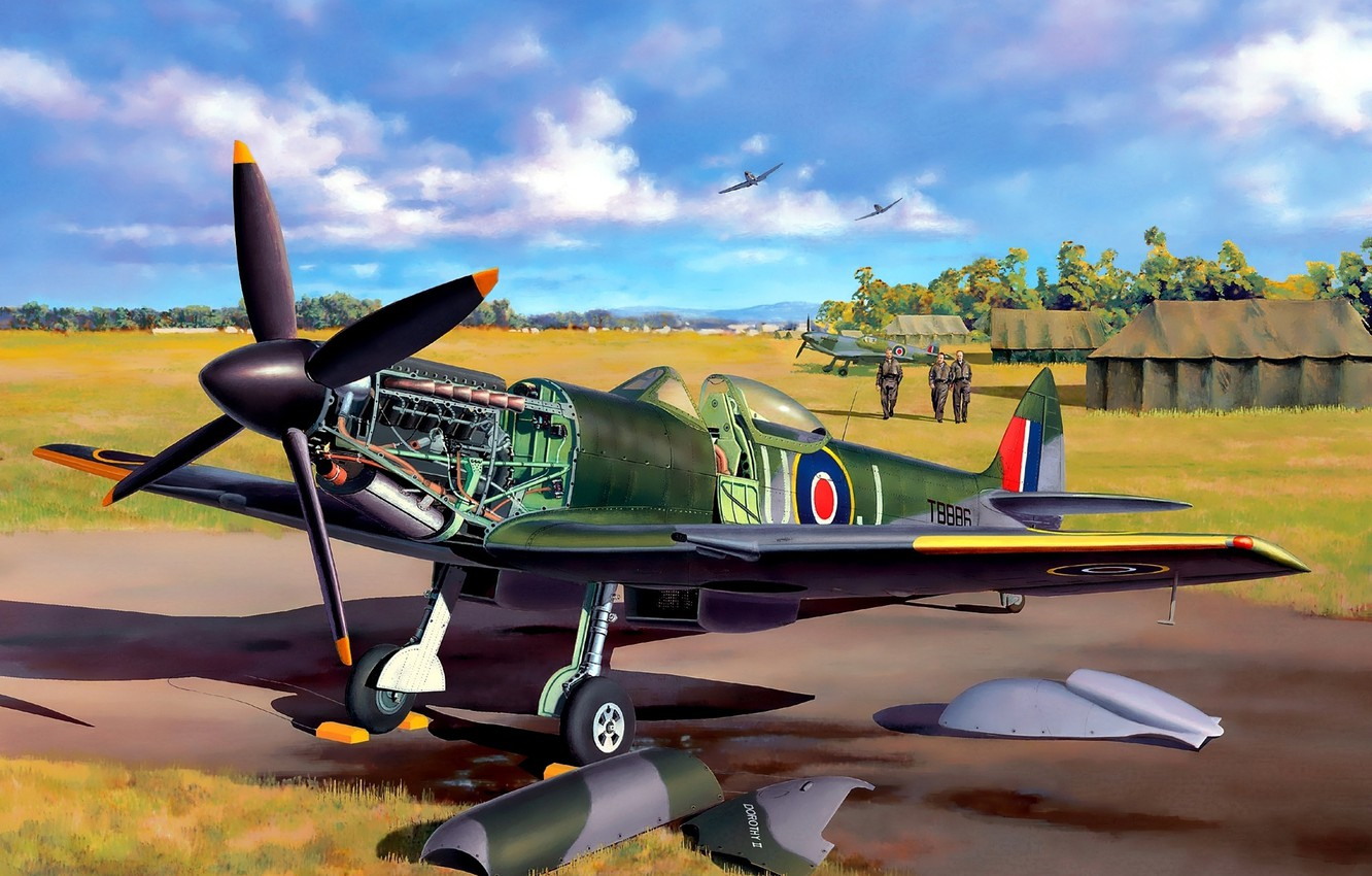 Wallpaper the plane, fighter, art, the airfield, English, BBC