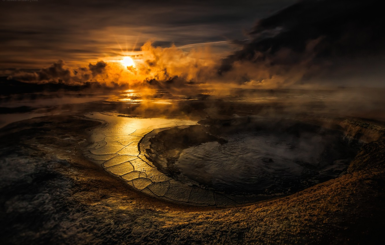 Photo wallpaper the sky, water, the sun, clouds, sunset, lake, the volcano, crater, smoke, sunset, water, clouds, …