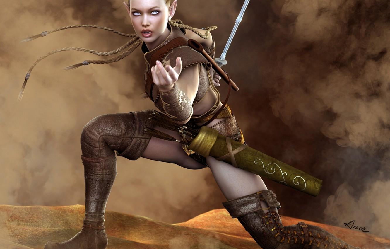 Photo wallpaper sword, boots, braids, elf, arrows, warrior, quiver, Amazon