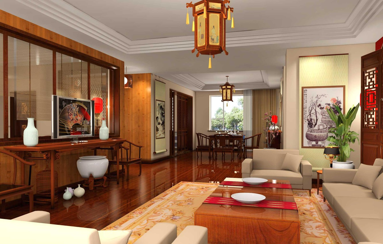 Photo wallpaper style, table, room, sofa, chairs, TV, chairs, table, design, Chinese, chandeliers.
