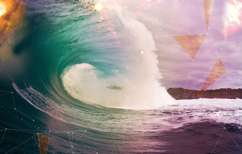 Photo wallpaper the ocean, shore, Wave