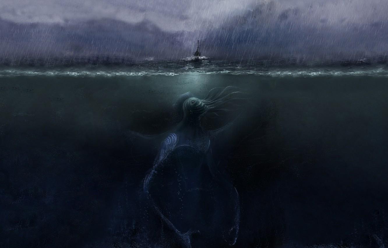 Photo wallpaper sea, the storm, rain, darkness, boat, Cthulhu, cthulhu