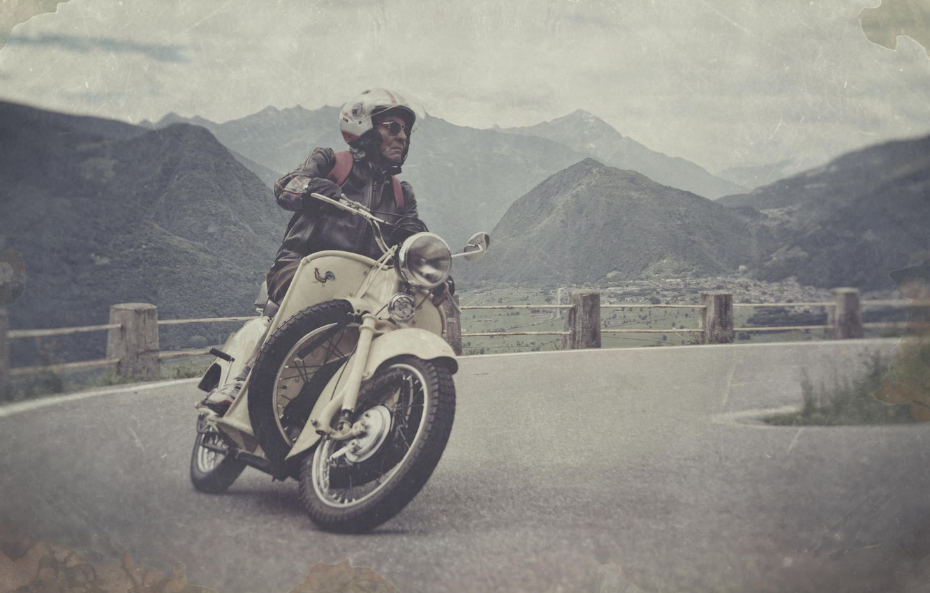 Photo wallpaper road, the sky, clouds, mountains, valley, motorcycle, male