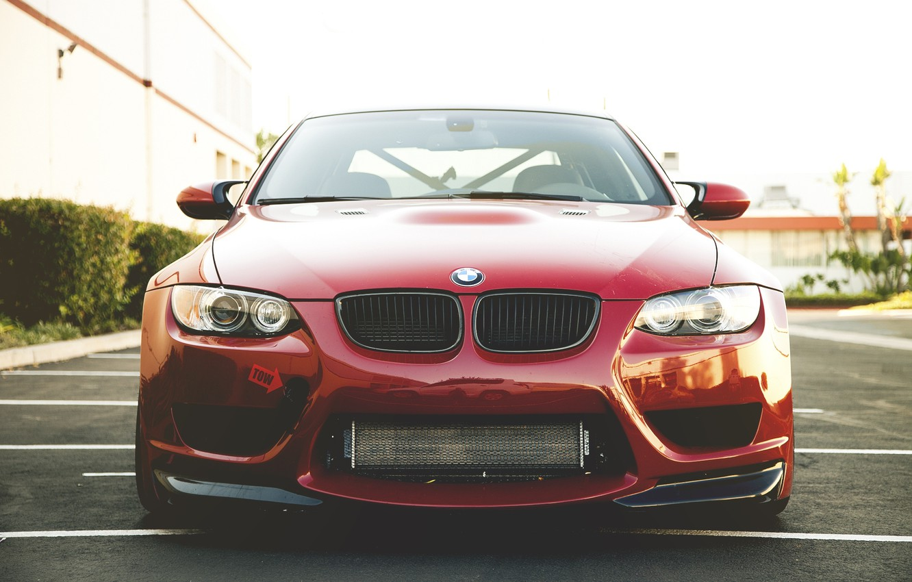 Photo wallpaper the sky, red, the building, bmw, BMW, Parking, red, the front, e92
