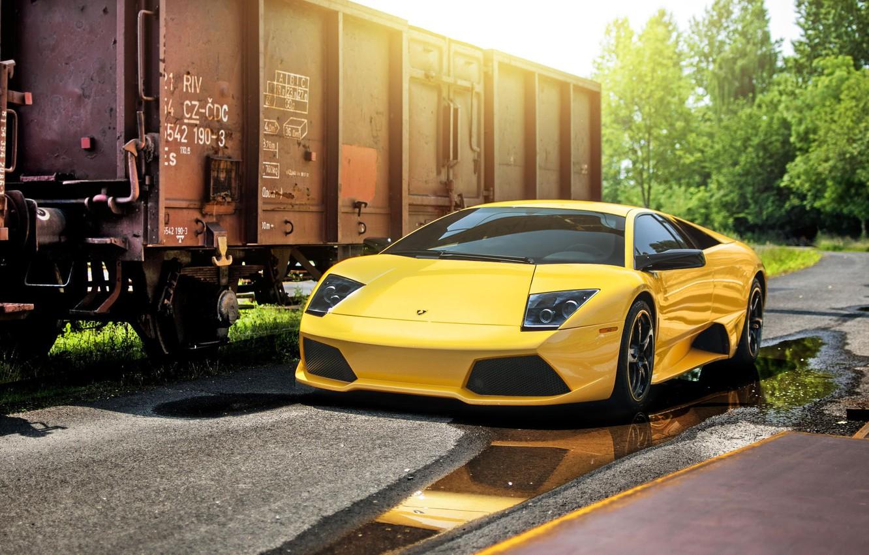 Photo wallpaper Lamborghini, Sun, Murcielago, Yellow, Supercar, LP640-4