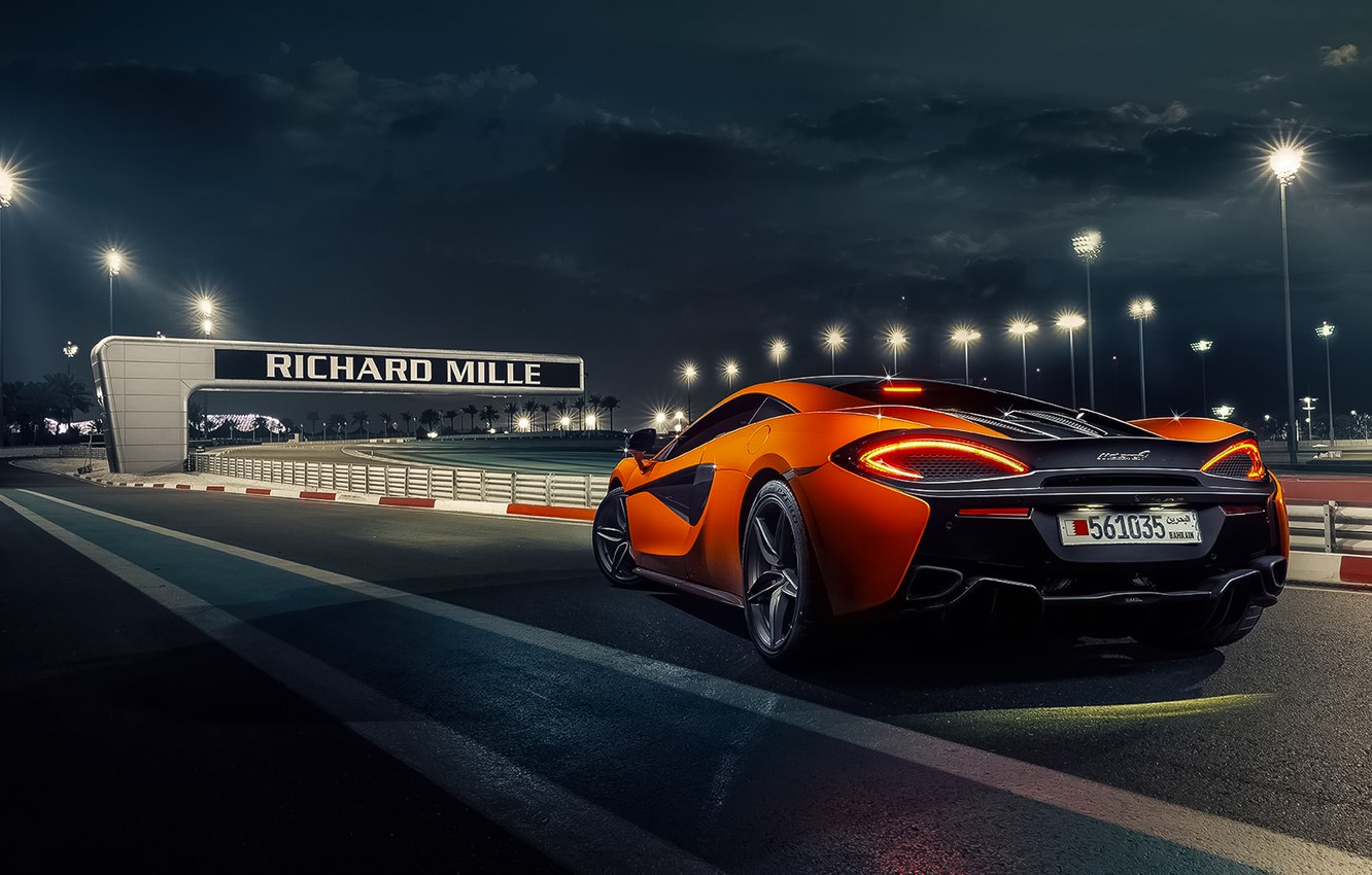 Photo wallpaper McLaren, Orange, Race, Power, Supercar, Track, 570S