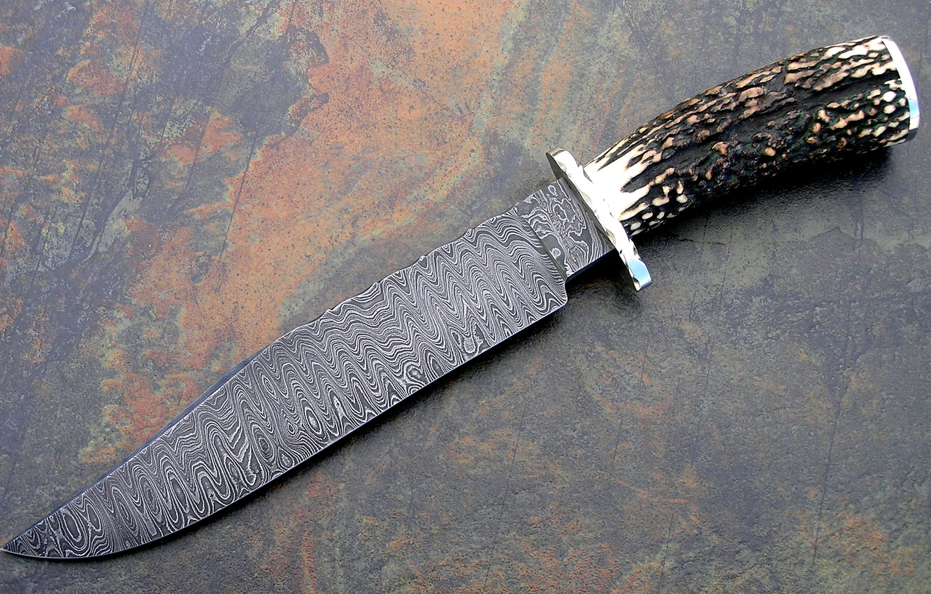 Photo wallpaper weapons, Knife, Damascus steel