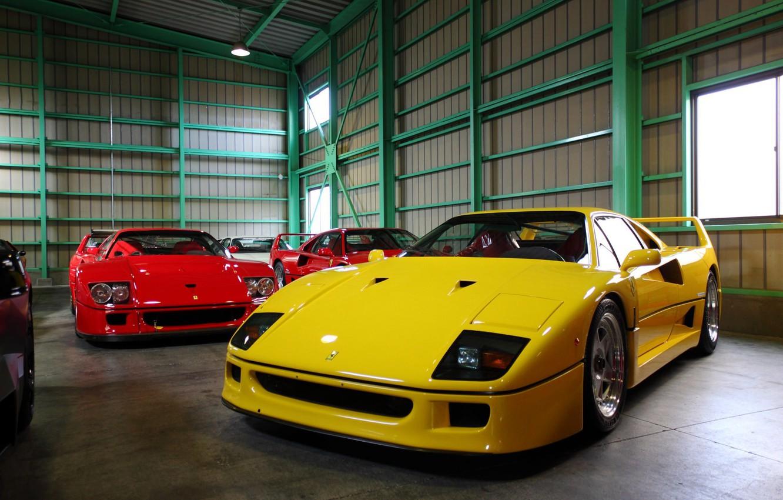 Photo wallpaper garage, hangar, Ferrari, F40, supercars