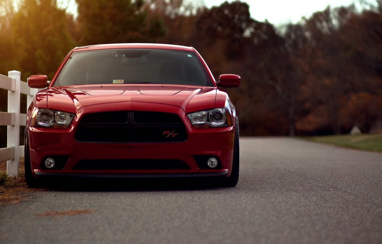 Photo wallpaper red, reflection, red, Dodge, dodge, charger, the front, the charger, R/T