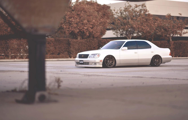 Photo wallpaper white, tuning, lexus, white, Lexus, stance, ls400
