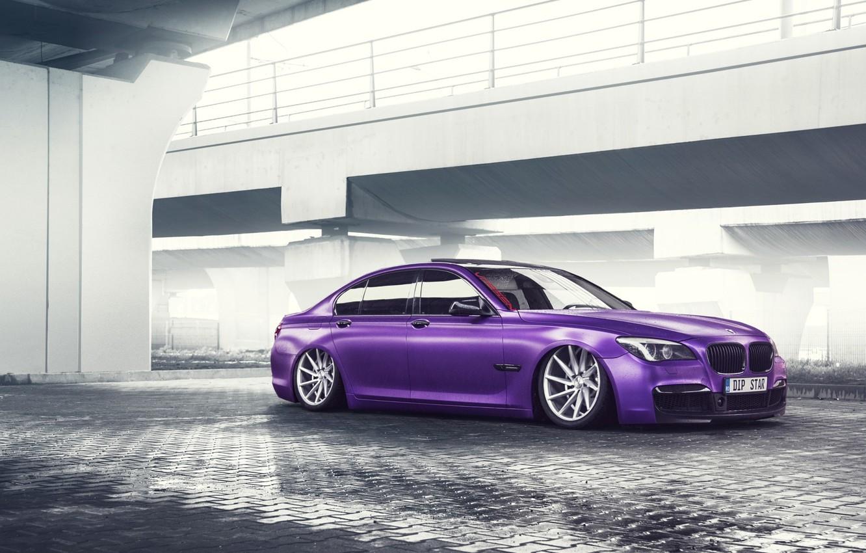 Photo wallpaper BMW, German, Car, Purple, Color, 7 Series, Vossen, Low, Wheels