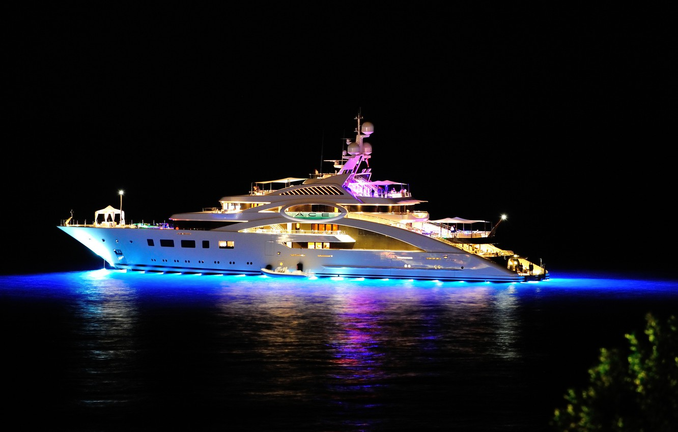 Wallpaper Sea Night Lights The Evening Yacht Night Yacht
