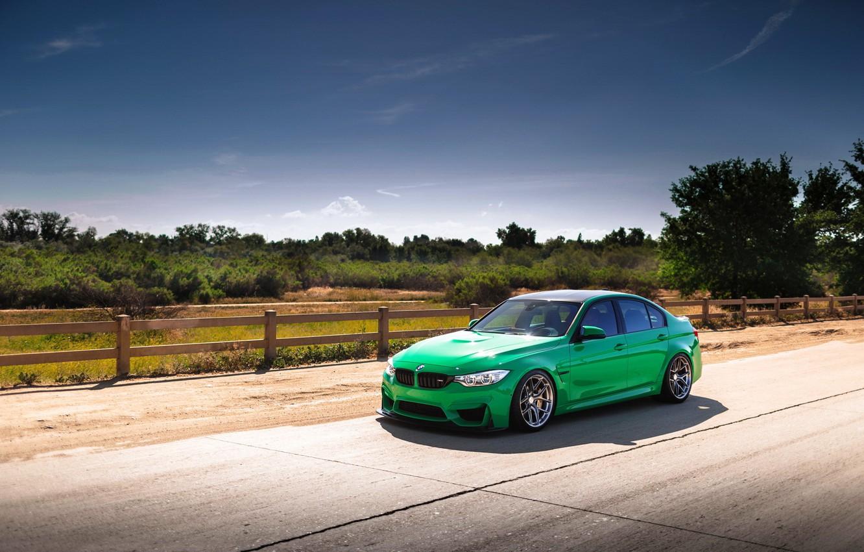 Photo wallpaper car, green, bmw, road, f80
