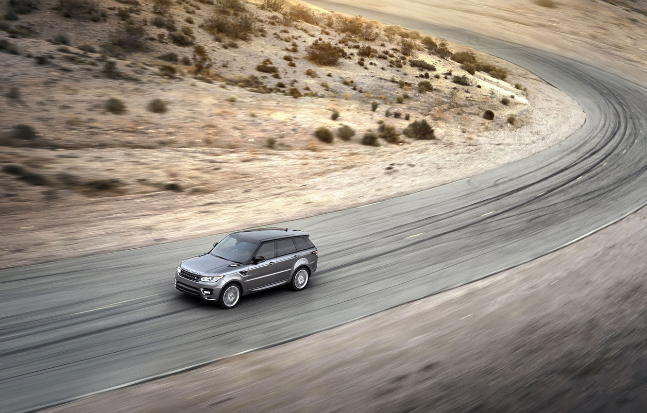 Photo wallpaper Auto, Road, Machine, Speed, Grey, Range Rover, The view from the top, SUV, Sport