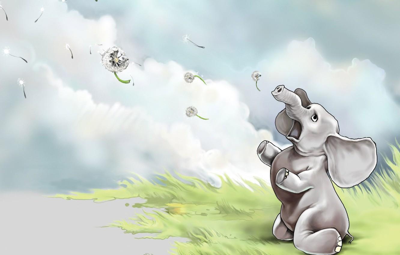 Photo wallpaper figure, elephant, Dandelions