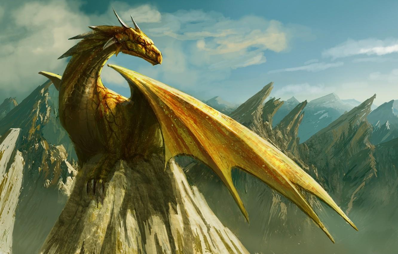 Photo wallpaper clouds, mountains, rock, dragon, figure