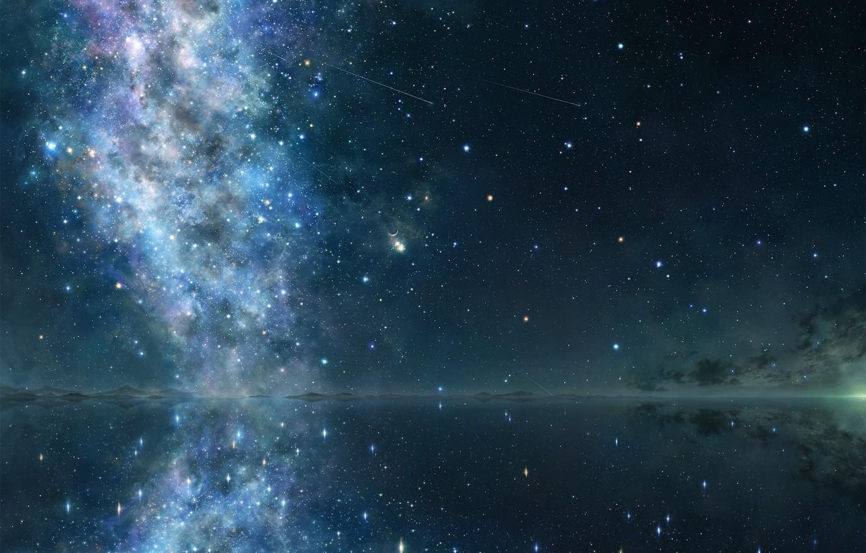 Photo wallpaper stars, night, lake, surface, reflection, art, galaxy, tsujiki