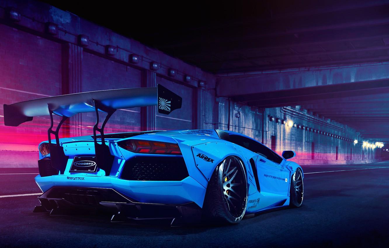 Photo wallpaper Lamborghini, Blue, LP700-4, Aventador, Liberty Walk