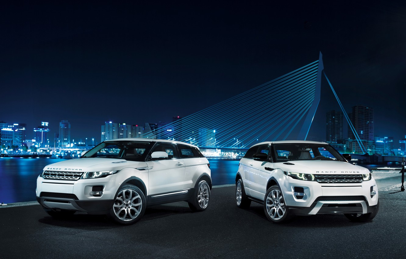 Photo wallpaper white, bridge, coupe, Land Rover, night city, range rover, coupe, the front, crossover, Ewok, land …