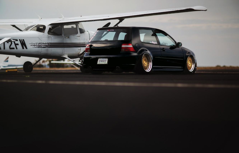 Photo wallpaper black, tuning, volkswagen, black, Golf, golf, Volkswagen, MK4