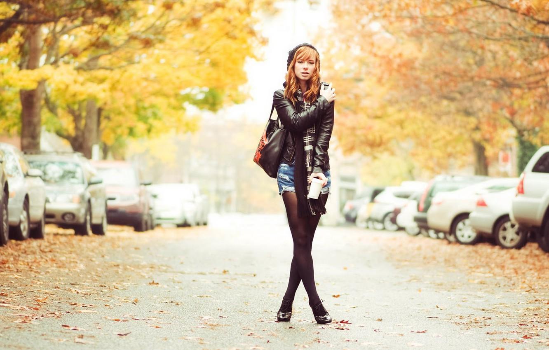 Photo wallpaper road, autumn, model, red, Hattie Watson
