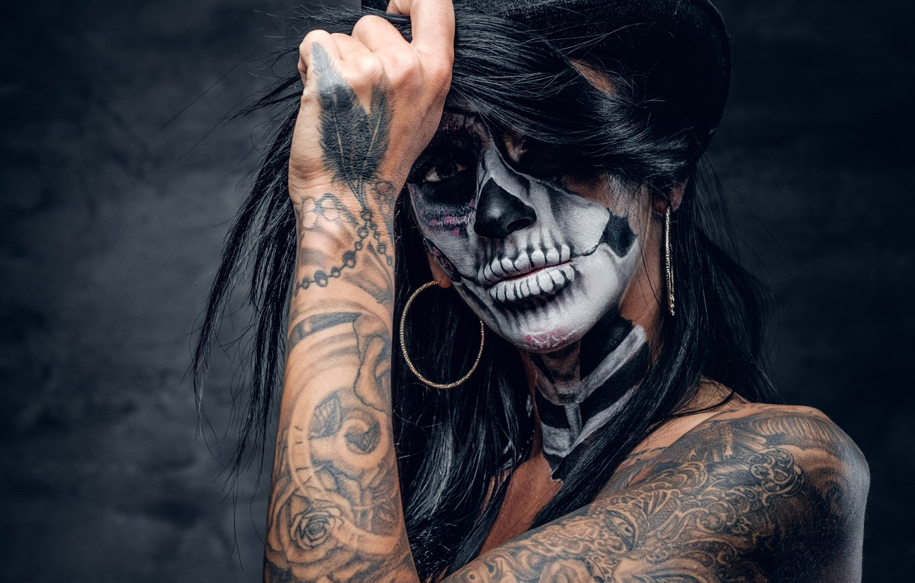 Photo wallpaper woman, hair, hands, tattoos, feather, fingers, makeup, hatter, day of the dead