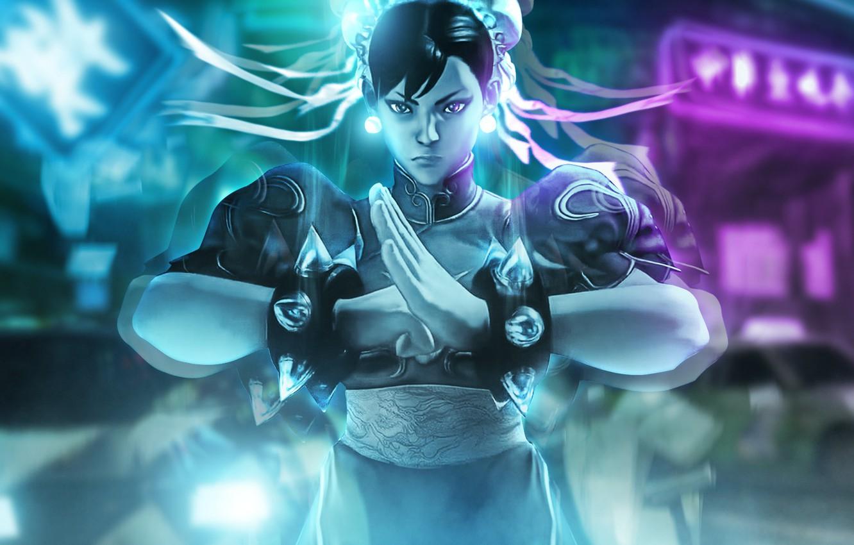 Photo wallpaper girl, art, fighter, Street Fighter V, Chun li