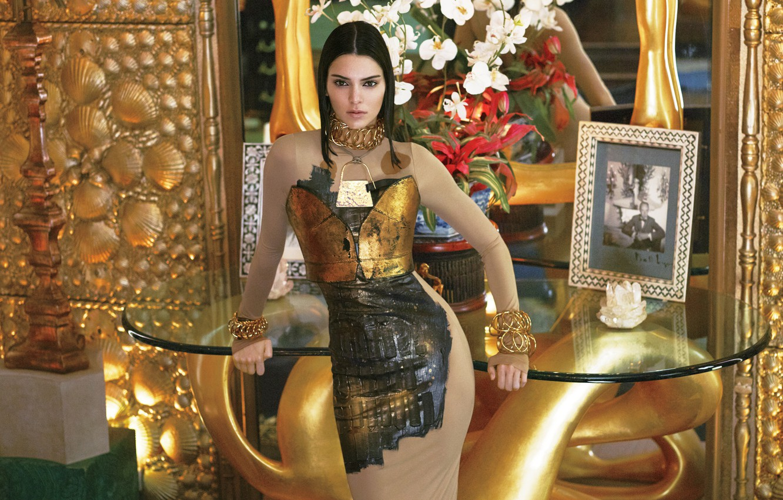 Photo wallpaper decoration, flowers, model, makeup, figure, dress, mirror, brunette, hairstyle, beauty, table, photoshoot, Vogue, Kendall Jenner, …