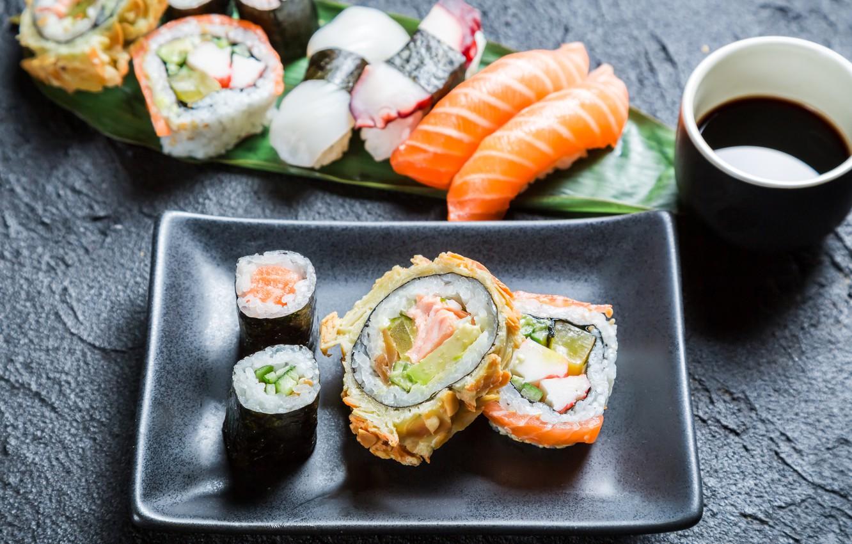 Photo wallpaper sticks, rolls, sushi, sushi, rolls, Japanese cuisine, soy sauce, sticks, soy sauce, Japanese cuisine