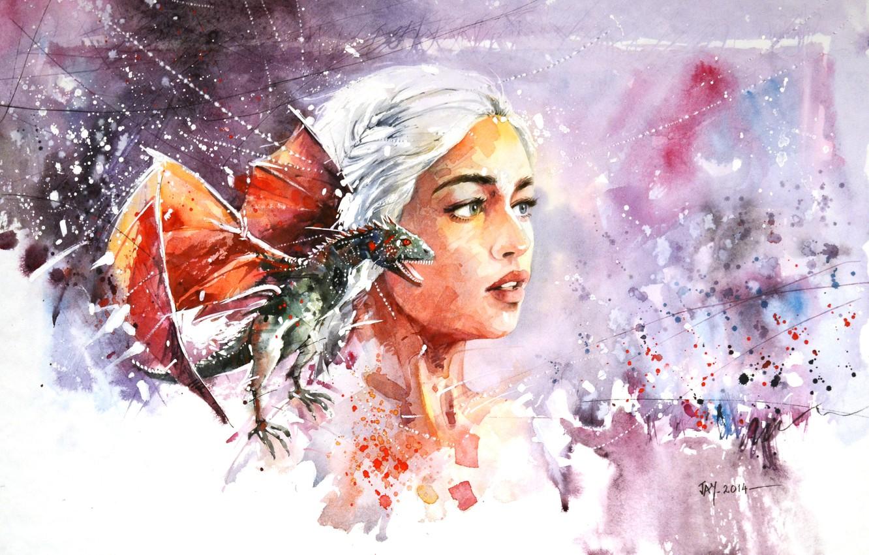 Photo wallpaper look, girl, dragon, Daenerys Targaryen, game of thrones