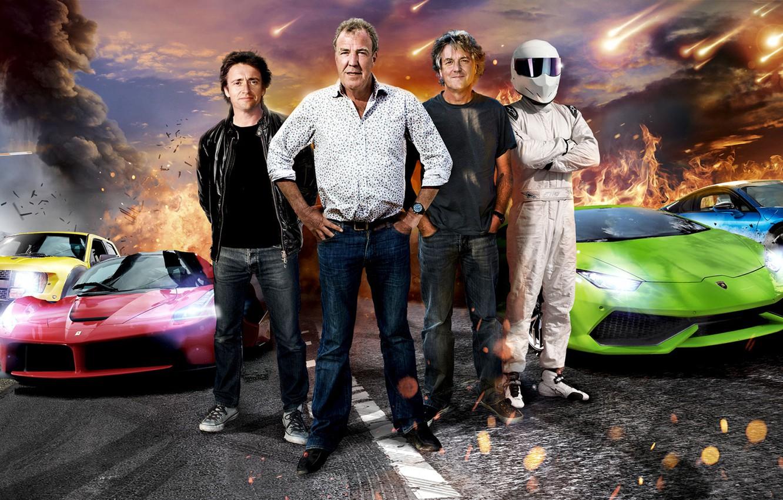 Photo wallpaper Jeremy Clarkson, Top Gear, Stig, Supercars, Richard Hammond, James May, Ferrari LaFerrari, BMW i8, Lamborghini …