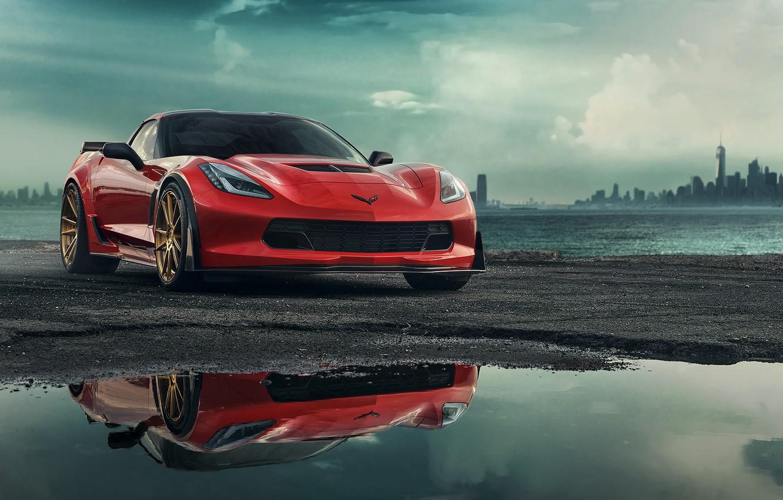 Photo wallpaper Corvette, Chevrolet, Red, Car, Front, C7, Zummy