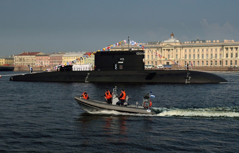 "Photo wallpaper holiday, Saint Petersburg, submarine, electric, diesel, SSK, the project 636.3, ""Krasnodar"""