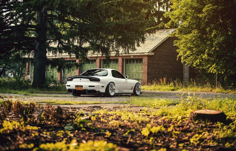 Photo wallpaper Mazda, Car, Sun, White, RX-7, Swap, LS1