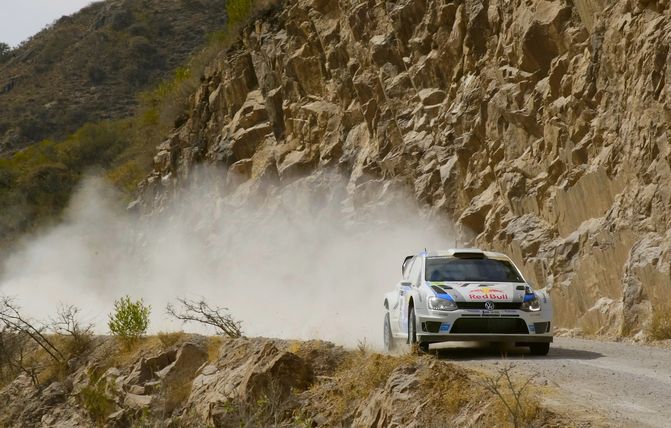 Photo wallpaper Auto, Dust, Volkswagen, WRC, Rally, Rally, The front, Polo, S. Ogier, J. Ingrassia