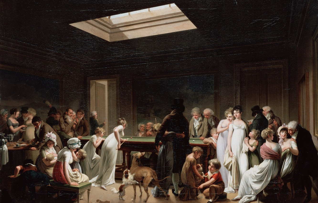 Photo wallpaper people, the game, Billiards, Boilly