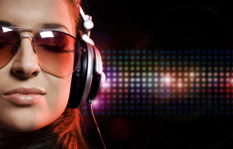 Photo wallpaper music, headphones, glasses
