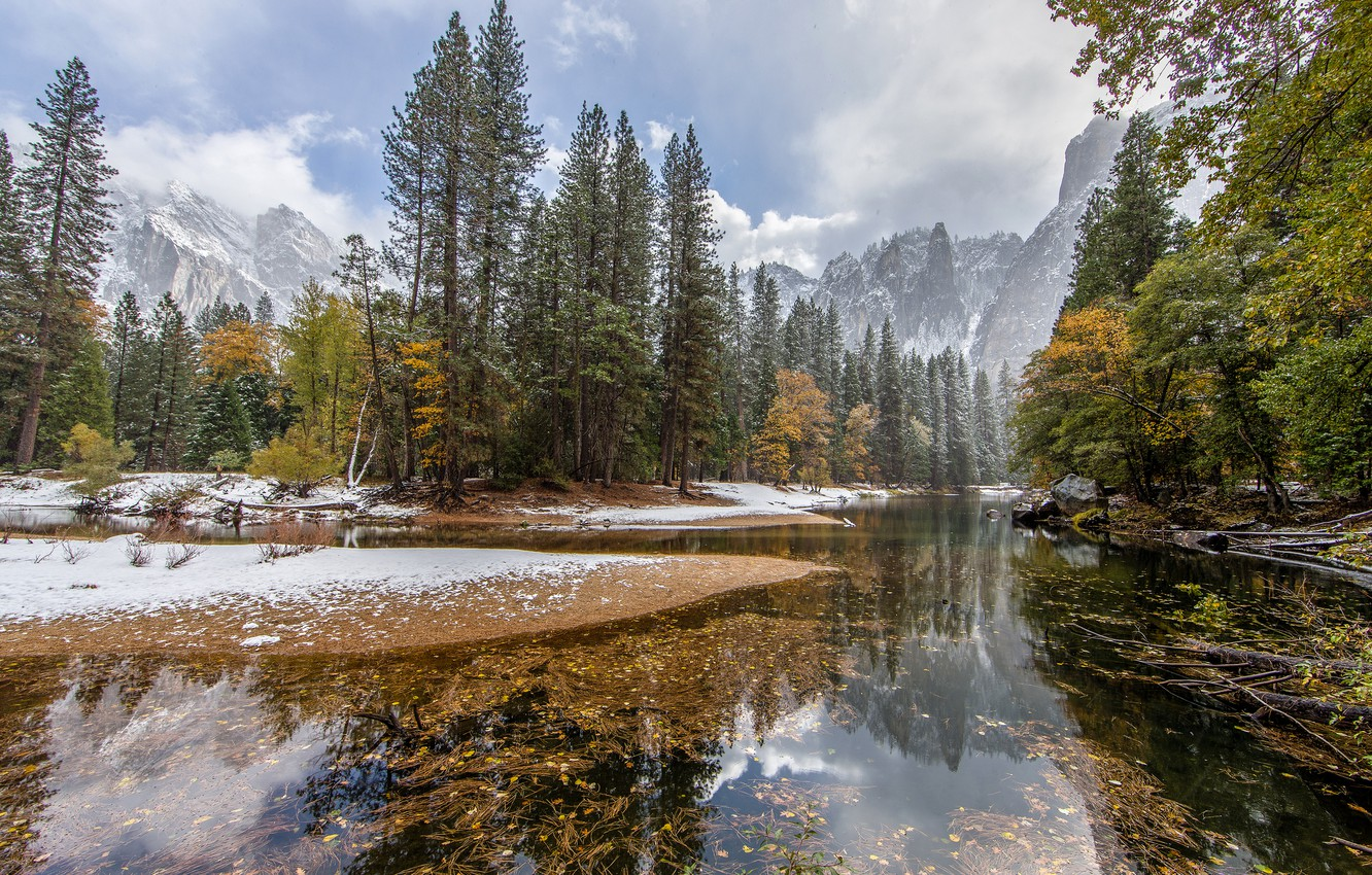Photo wallpaper autumn, forest, the sky, snow, trees, mountains, river