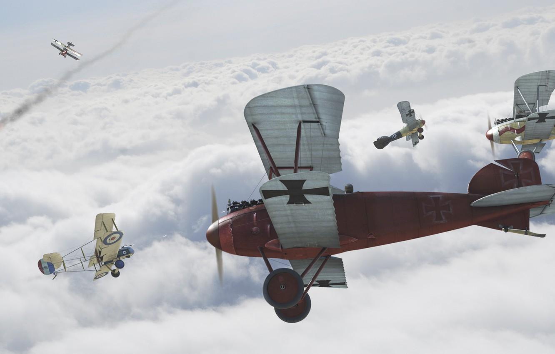 Photo wallpaper the sky, The plane, battle, biplane