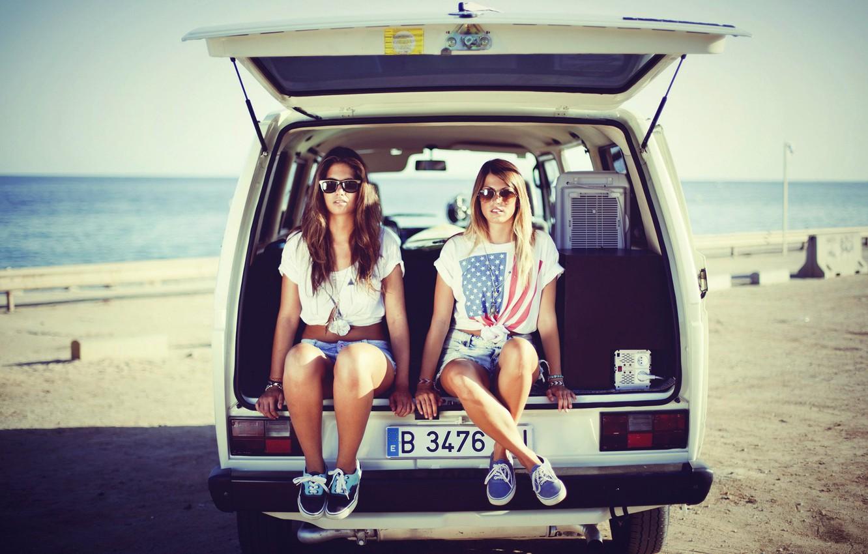 Photo wallpaper beach, vintage, sunset, brunette, blonde, glasses, camper