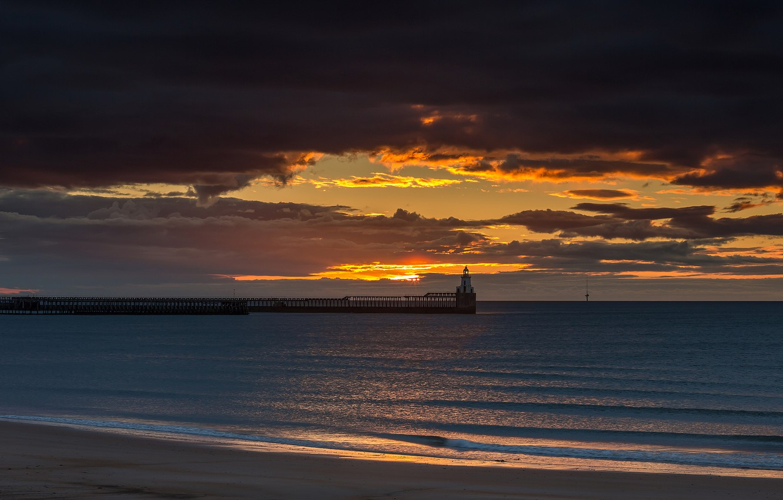 Photo wallpaper beach, clouds, nature, the ocean, dawn, lighthouse, pierce
