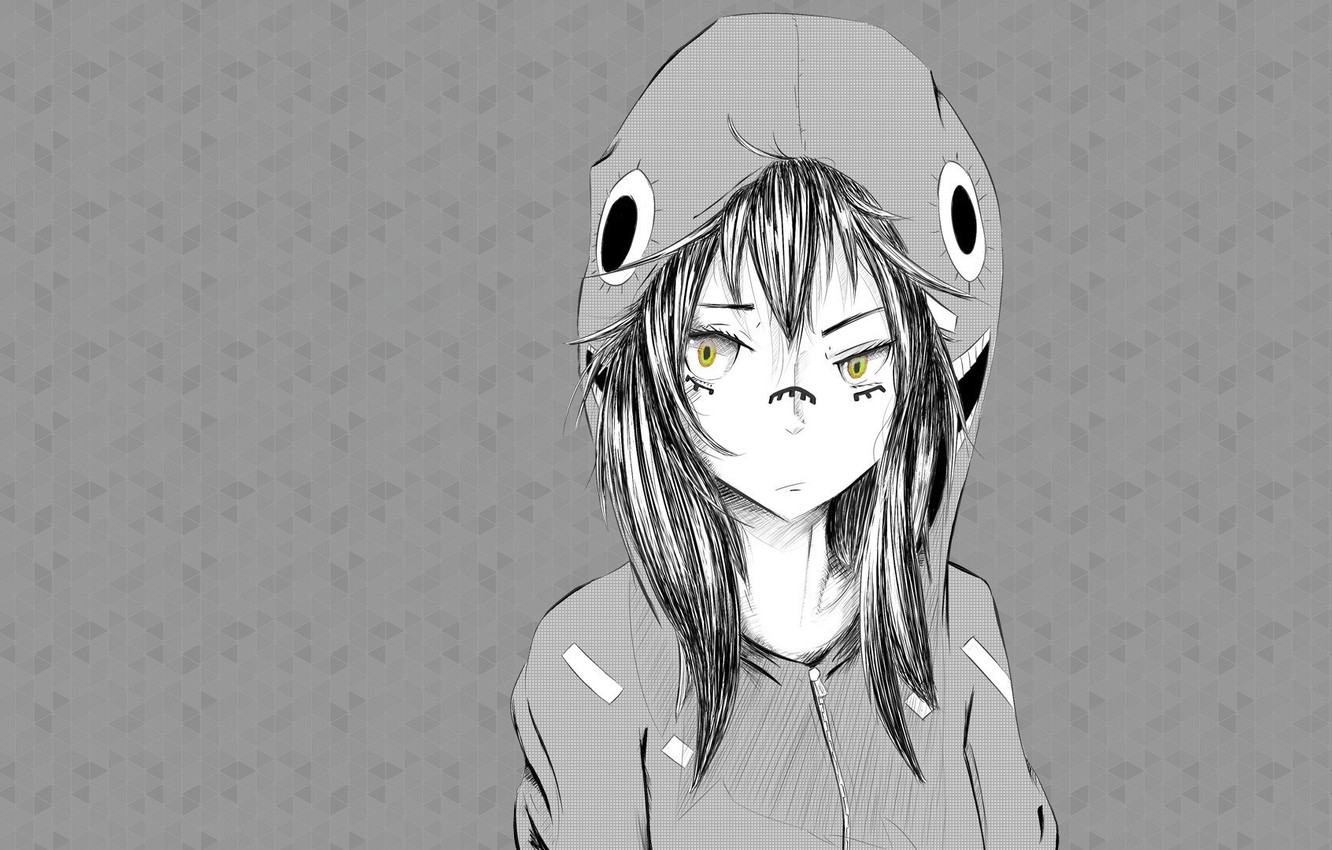 Photo wallpaper girl, art, black and white, hood, yellow eyes, pencil work