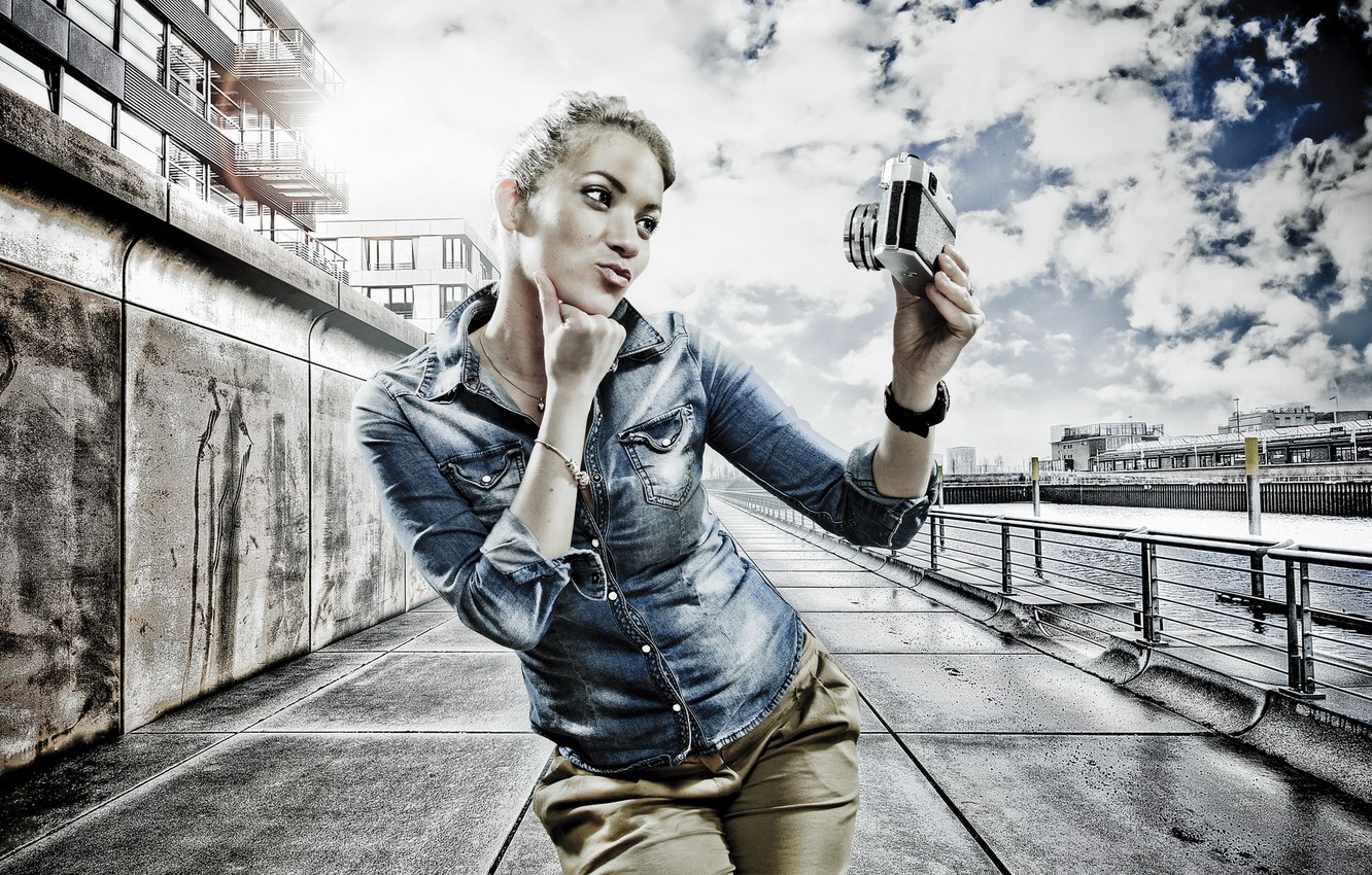 Photo wallpaper girl, background, HDR, the camera, selfie
