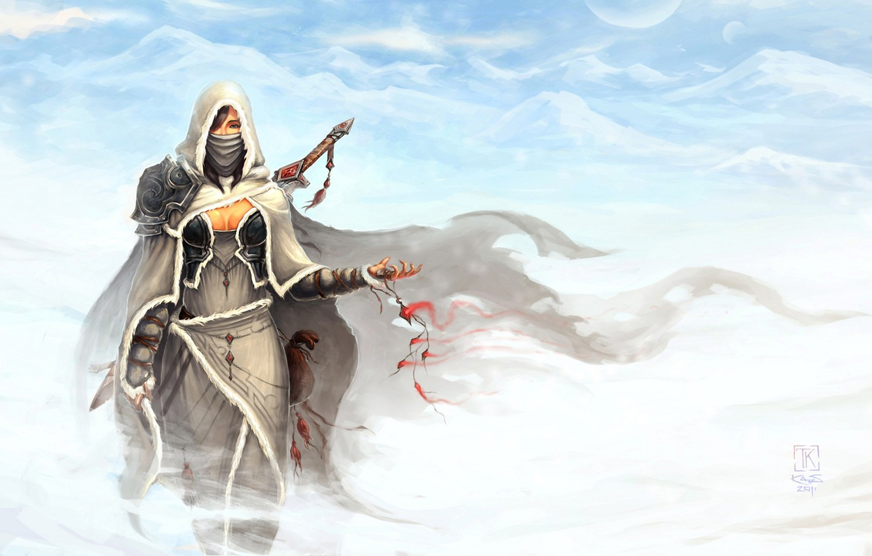 Photo wallpaper snow, mountains, the wind, magic, Girl, sword, hood, amulet, cloak, warrior