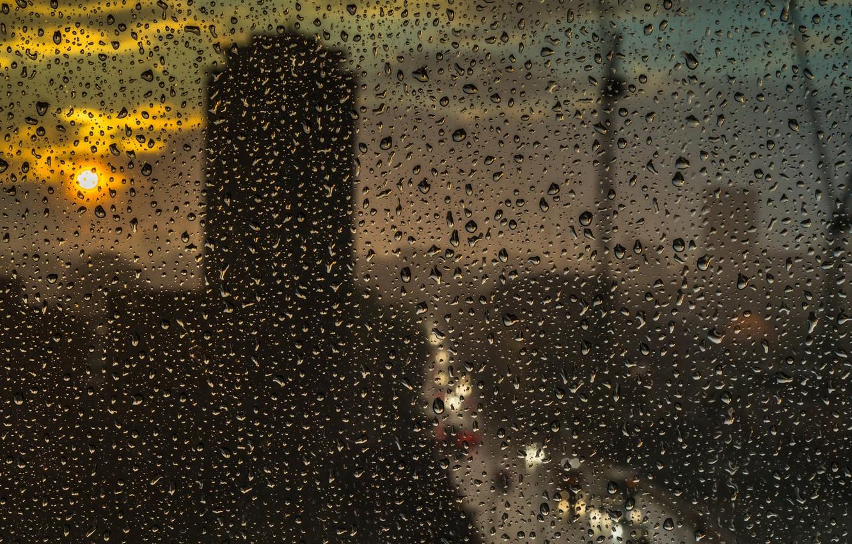 Photo wallpaper glass, the sun, drops, the city