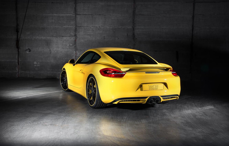 Photo wallpaper yellow, Porsche, Cayman, Porsche, TechArt, Caiman