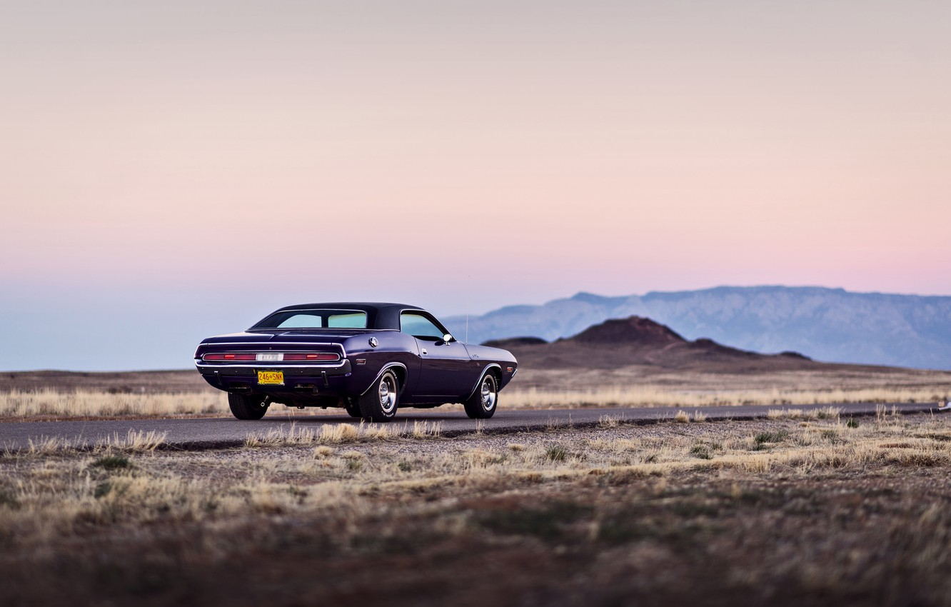 Photo wallpaper road, mountains, wheel, back, Dodge, Challenger, twilight, tail lights
