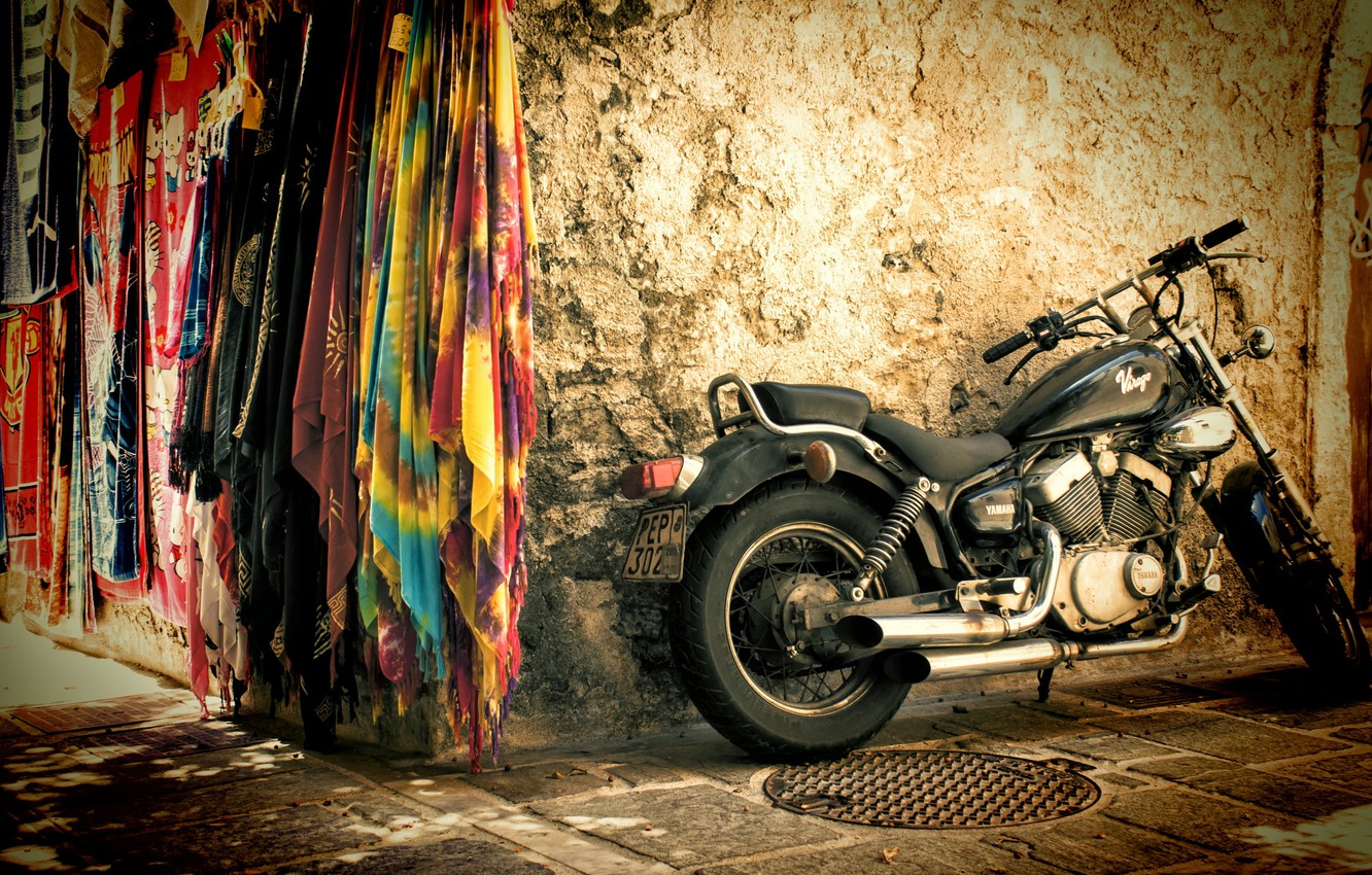 Photo wallpaper background, street, motorcycle