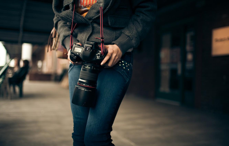 Photo wallpaper macro, Girl, the camera, Canon